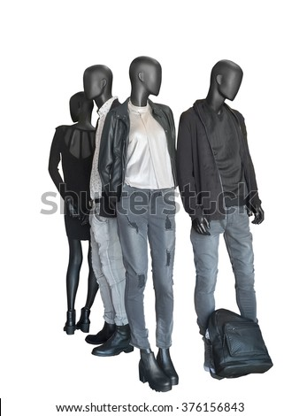 Group of mannequins wear casual clothing isolated on white background
