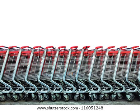 Group of market carts isolated on white - Shopping concept - stock photo