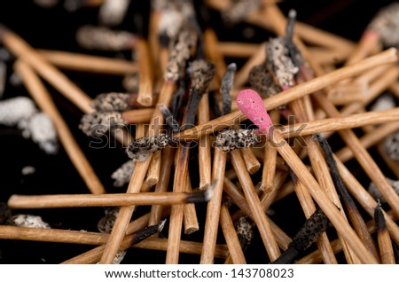Group of matches selective focus on new one