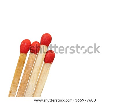 Group of matchstick closeup isolated on white background