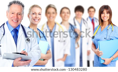 Group of medical doctor. Isolated on white background.