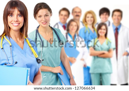 Group of medical doctor. Over white background. - stock photo