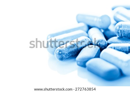Group of  medical pills isolated on white background - stock photo