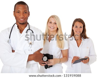 Group of medical students. All on white background. - stock photo