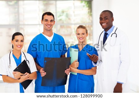 group of medical workers in hospital - stock photo
