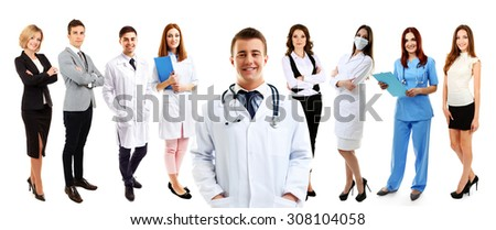 Group of medical workers, isolated on white - stock photo