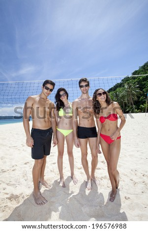 Group of men and women spending time at the beautiful beach,Boracay in Philippines