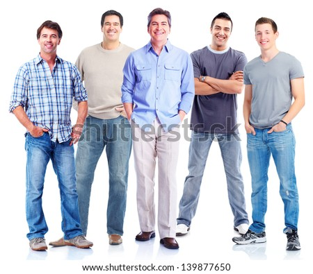 Group of men. Isolated on white background. - stock photo