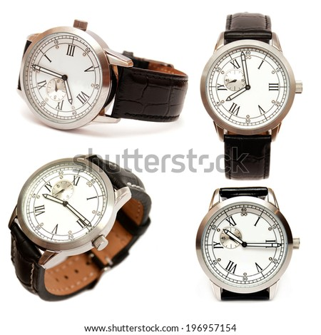 Group of men mechanical watches isolated on white background - stock photo