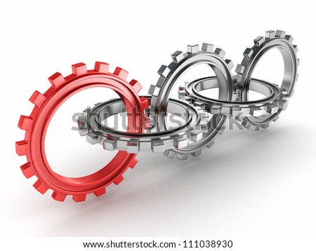 group of metallic gears and one red - stock photo