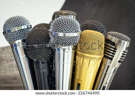 group of microphones - close up - stock photo