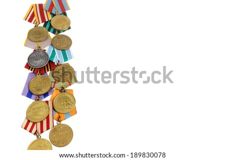Group of military soviet medals of Great Patriotic as vertical border isolated - stock photo