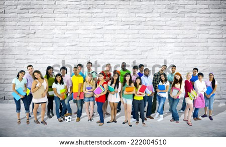 Group of mixed age and race students. - stock photo