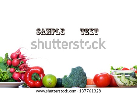 Group of mixed and fresh vegetables isolated