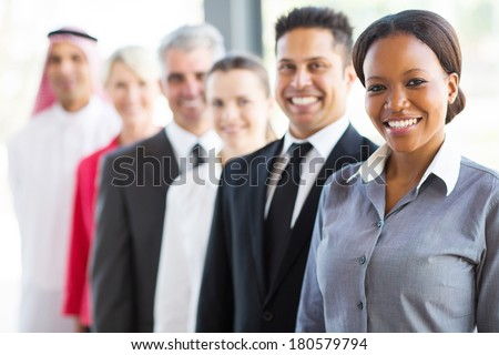 group of modern business people in a row - stock photo