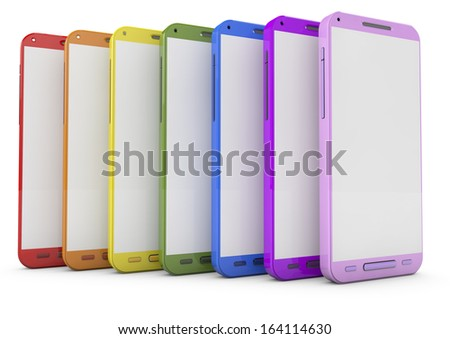 Group of modern colored smartphones with colorful interface isolated on white background with reflection effect - stock photo