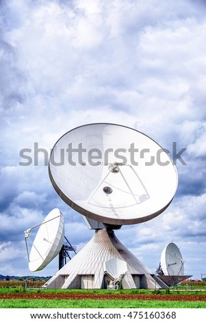 group of modern satellite dishes - radio telescopes