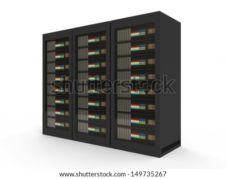 Group of Modern Server Rack isolated on white background