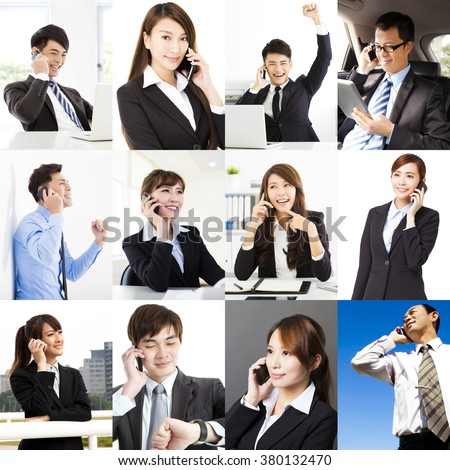 Group of Multi  Business People talking on the phone - stock photo