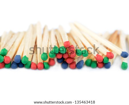 Group of multi-colored matchsticks