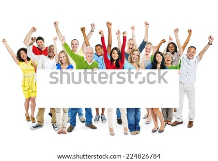 Group Of Multi-Ethnic Arms Outstretched And Holding An Empty Billboard In A White Background. - stock photo