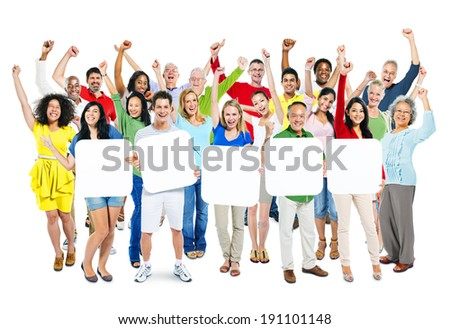 Group Of Multi-Ethnic Arms Outstretched And Holding 5 Empty Placards In A White Background. - stock photo