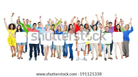 Group Of Multi-Ethnic Arms Outstretched And Holding 9 Empty Placards In A White Background. - stock photo