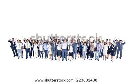 Group of multi ethnic business colleagues standing on a white background. - stock photo