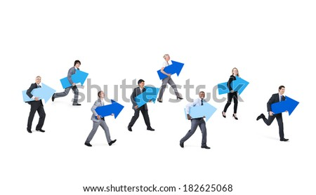 Group of Multi Ethnic Business People Running Forward With Blue Arrows - stock photo
