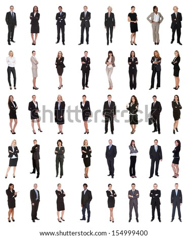Group Of Multi Ethnic Business People Standing Over White Background - stock photo