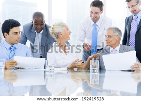 Group of multi ethnic business person meeting - stock photo
