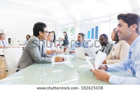 Group of Multi Ethnic Cheerful Corporate People Having a Business Meeting - stock photo