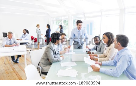 Group of Multi Ethnic Corporate People Interacting with the Speaker - stock photo