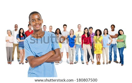 Group of Multi Ethnic Diverse People with A Young African Boy - stock photo