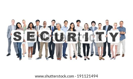 Group Of Multi-Ethnic Group Of Business People Holding Placards Forming Security - stock photo