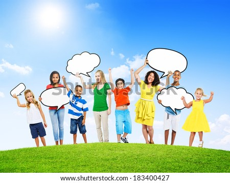 Group of Multi-Ethnic Mixed Age People Holding Speech Bubbles