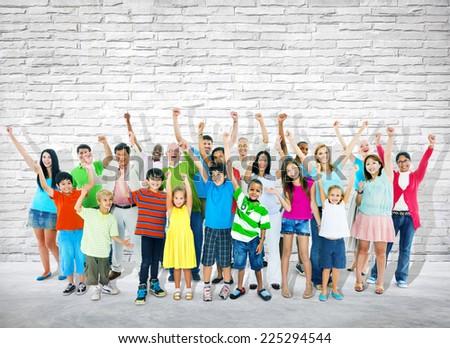 Group of multi-ethnic people celebrating success. - stock photo