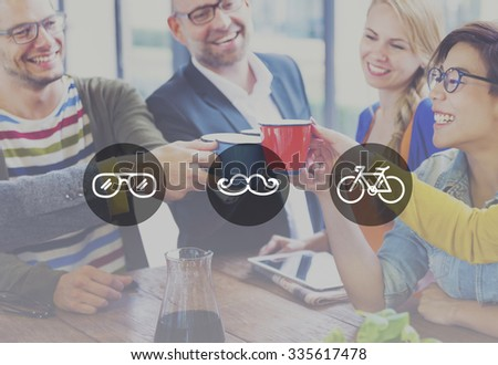 Group of multi-ethnic people celebrating their new start-up business. - stock photo