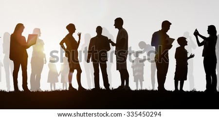 Group Of Multi-Ethnic People Outdoors Social Media Concept