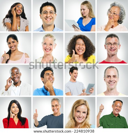 Group of multi ethnic people posing. - stock photo