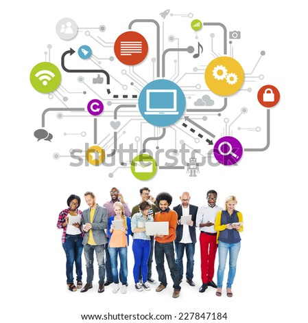 Group Of Multi-Ethnic People Social Networking And Related Symbols Above - stock photo