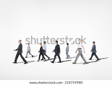 Group of multi-ethnical business people walking in a white background. - stock photo