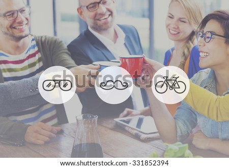 Group of multi-ethnical people celebrating their new start-up business. - stock photo