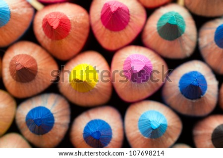 Group of multicolor pencils, close-up shot