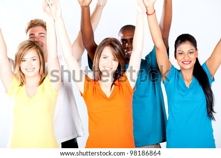 group of multicultural people arms up - stock photo