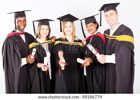 group of multicultural university graduates portrait - stock photo