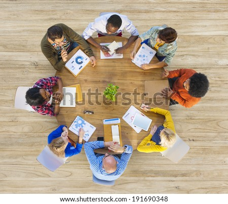 Group of Multiethnic Business People in Meeting - stock photo