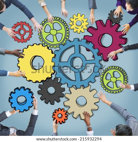 Group of Multiethnic Business People with Cog Symbols - stock photo