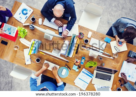 Group of Multiethnic Busy People Working in an Office - stock photo