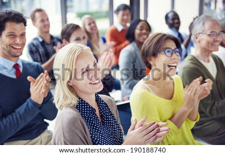 Group of Multiethnic Cheerful People Applauding - stock photo